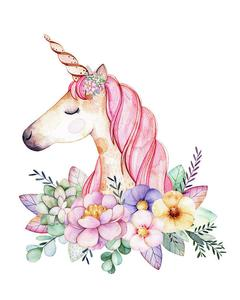 Magical watercolor wall art. Boho clipart unicorn