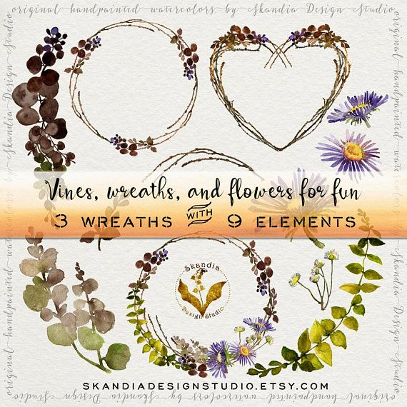 Watercolor flower wreath wedding. Boho clipart vine