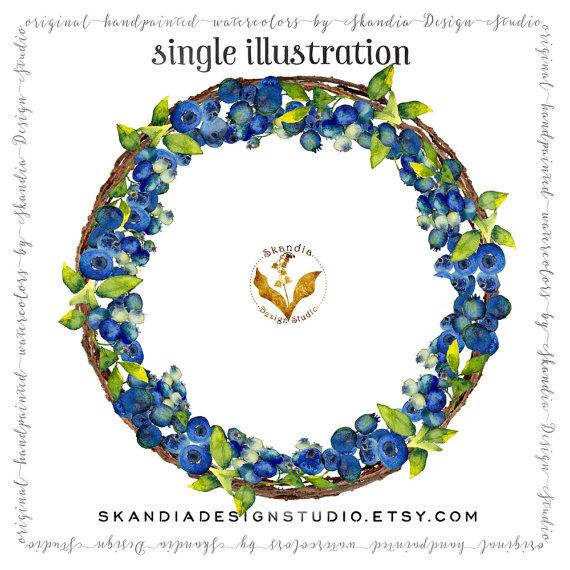 Boho clipart vine. Watercolor blueberry wreath handpainted