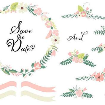 Boho clipart vine. Printable watercolor wedding invitation