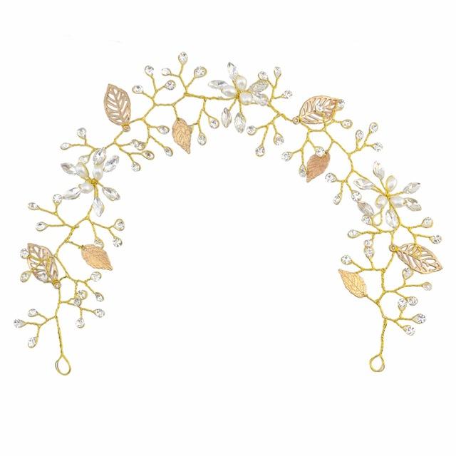 Leaf rhinestone hair ornaments. Boho clipart vine