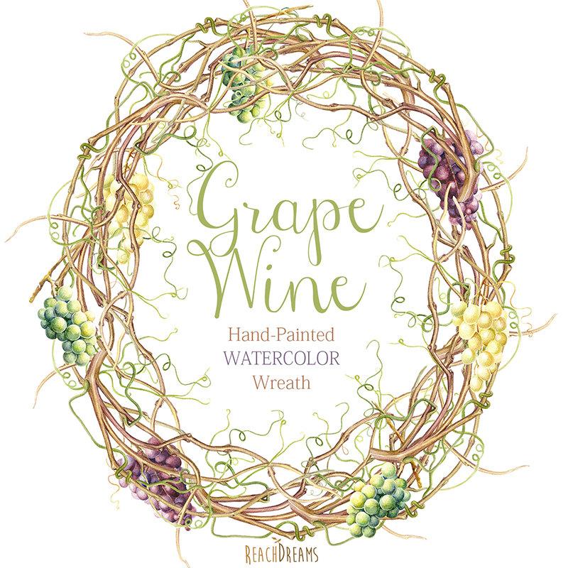 Boho clipart vine. Watercolor grapes wreath diy