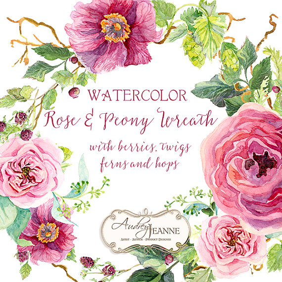 Watercolor burgundy floral wreath. Boho clipart vine