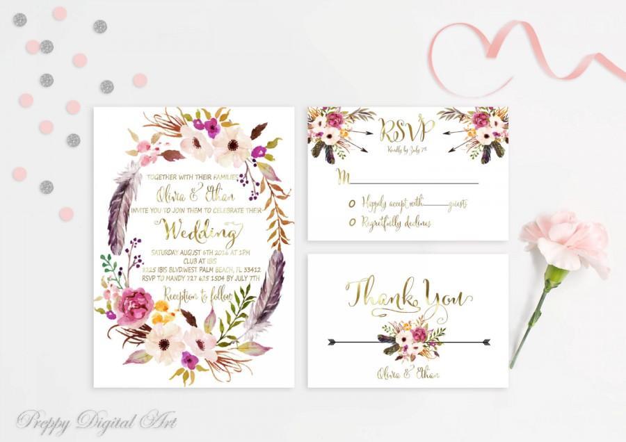 Boho clipart vine. Floral wreath wedding invitation