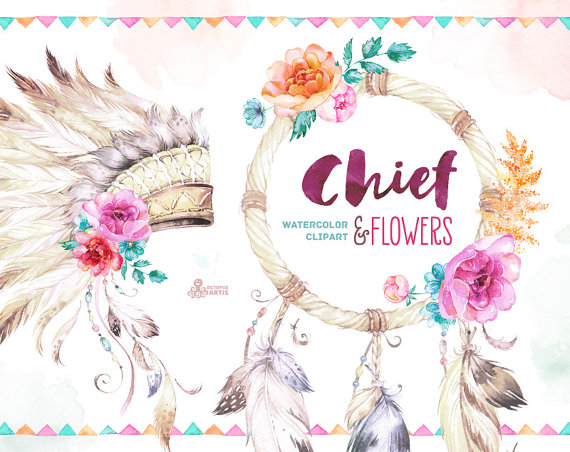 Boho clipart watercolor. Chief and flowers native
