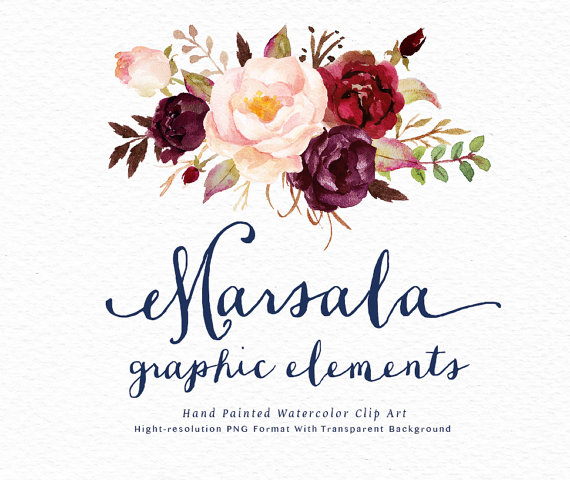 Floral clip art marsala. Boho clipart watercolor