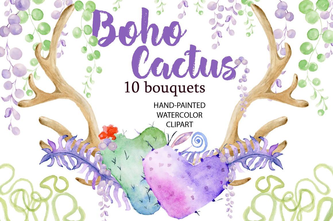 Boho clipart watercolor. Cactus by evgen design