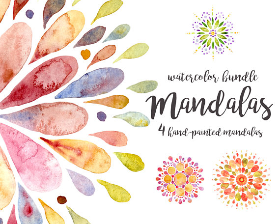 Boho clipart watercolor. Mandala bohemian hippie colorful