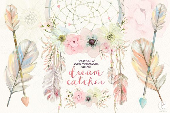 Boho clipart watercolor. Floral dreamcatcher by grafikboutique