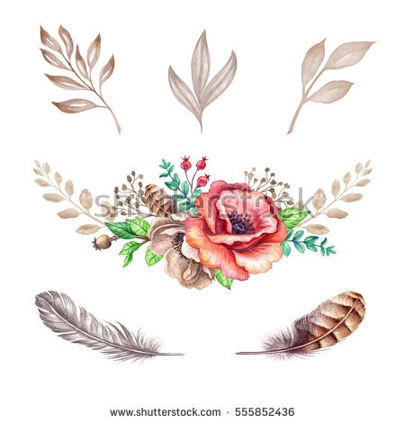 Flower illustration design elements. Boho clipart watercolor