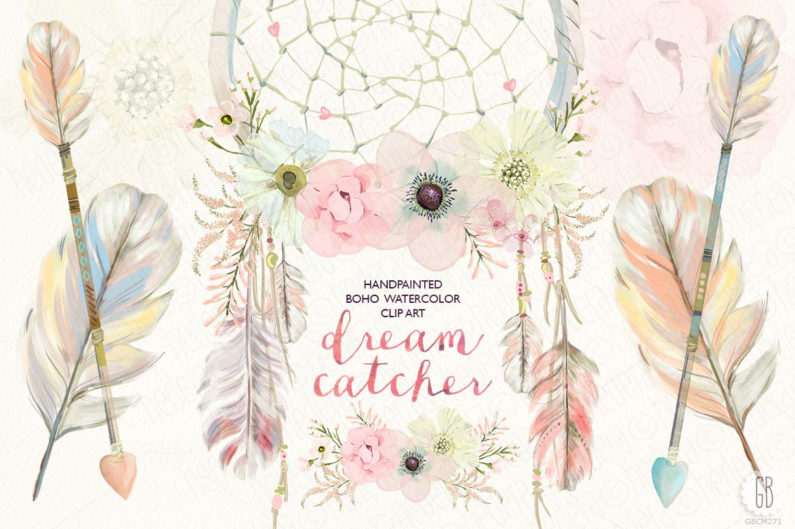 Floral dreamcatcher by grafikboutique. Boho clipart watercolor