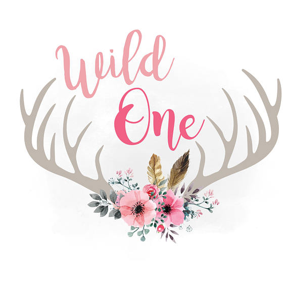 Antlers clipart boho. Wild one svg floral