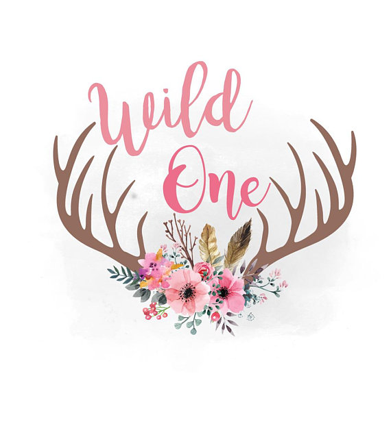 Svg floral antlers feathers. Boho clipart wild one
