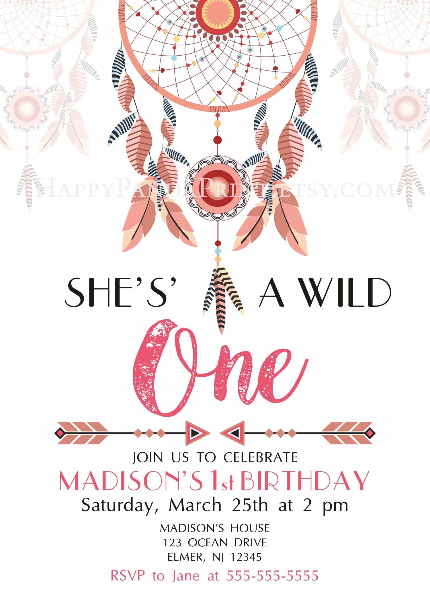 Boho clipart wild one. Invitation birthday party invite