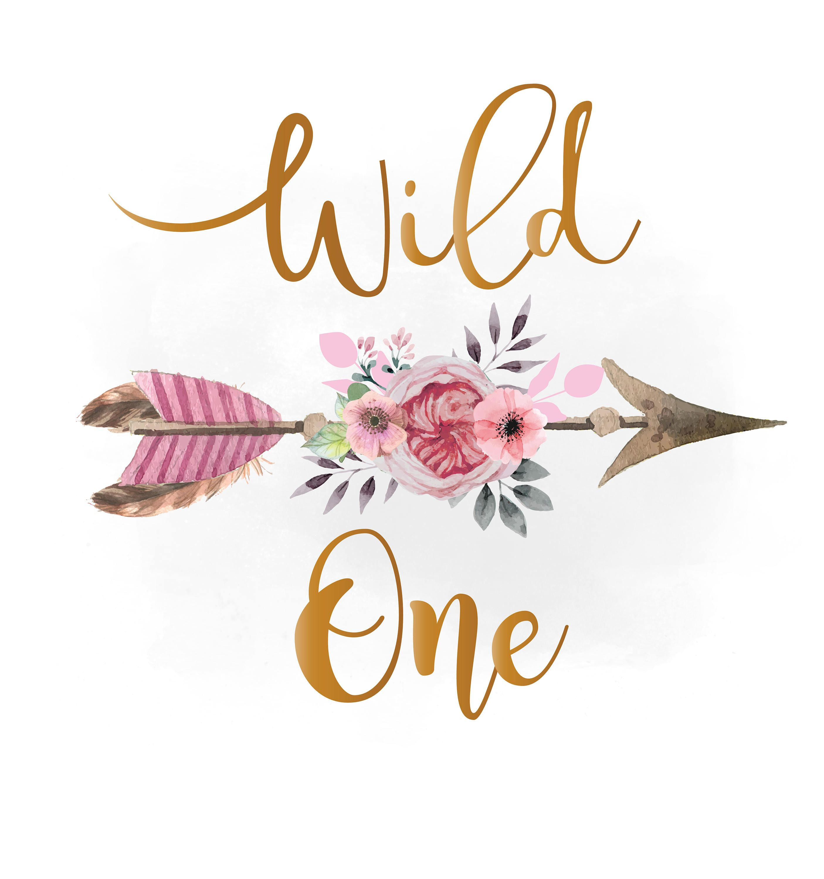 Svg pink floral arrow. Boho clipart wild one