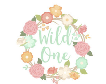Boho clipart wild one. Two sticker treat bag