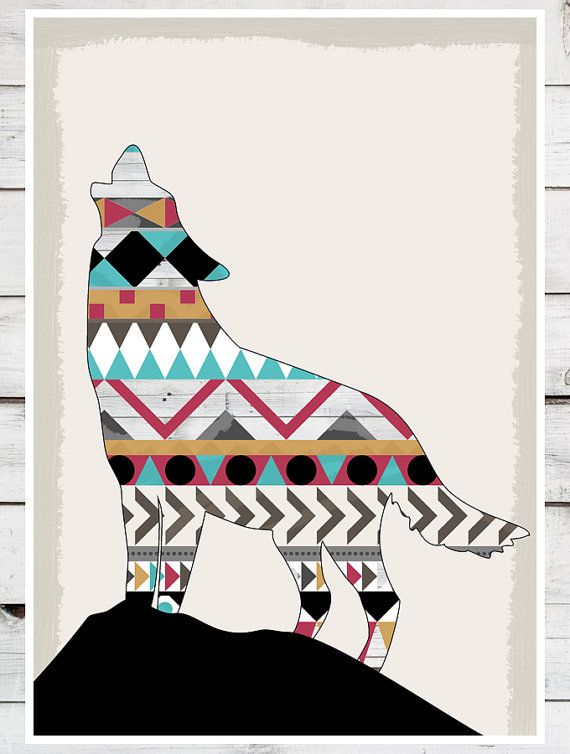 Boho clipart wolf. Southwestern native navajo aztec