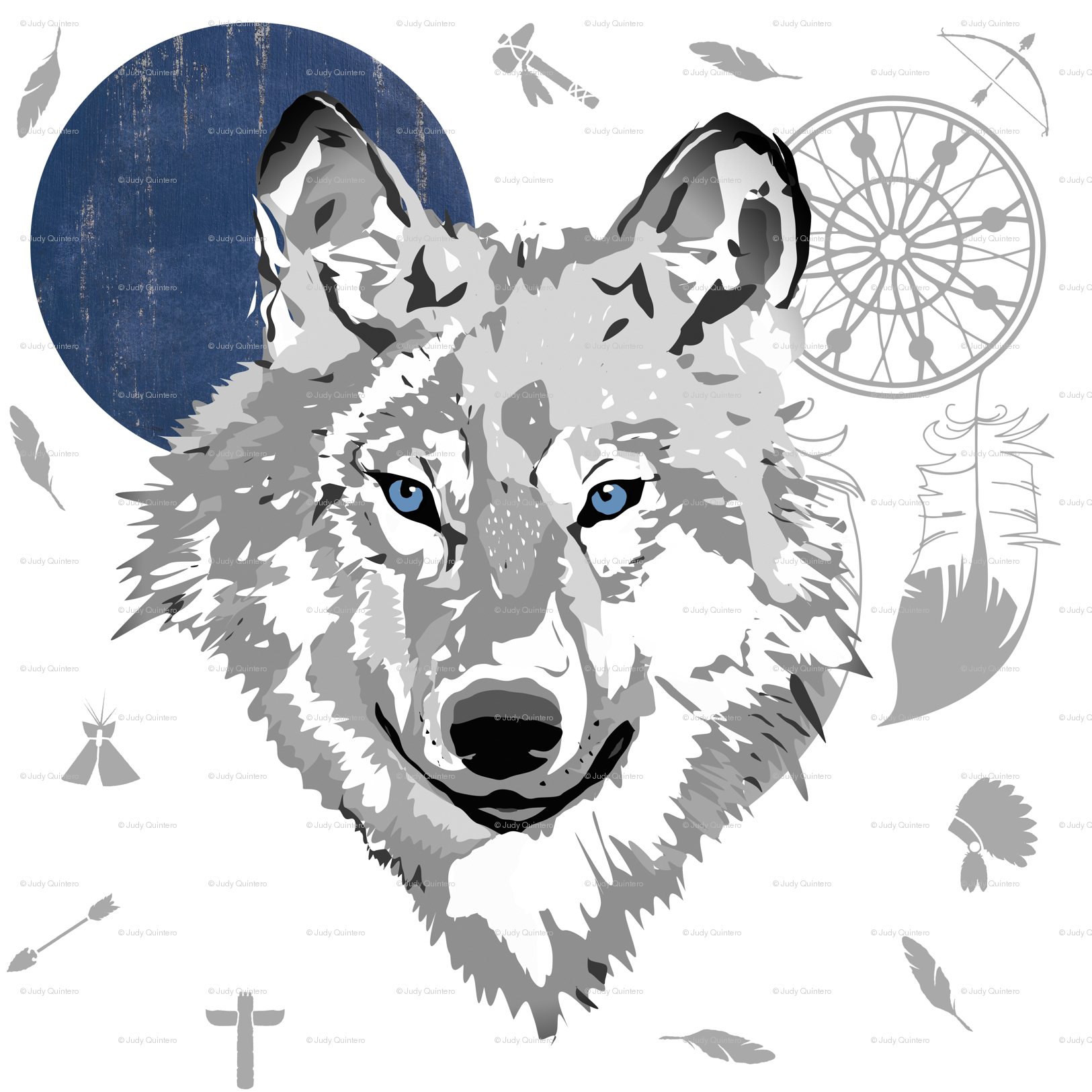 Boys fabric shopcabin spoonflower. Boho clipart wolf