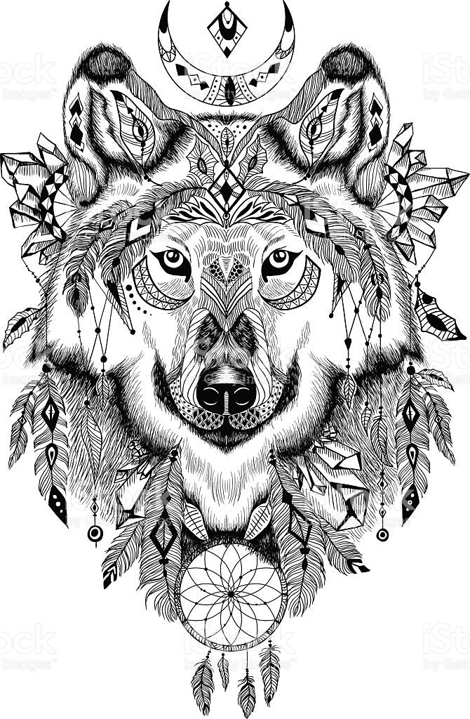 Detailed in aztec style. Boho clipart wolf