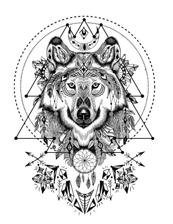 With sacred geometry adult. Boho clipart wolf