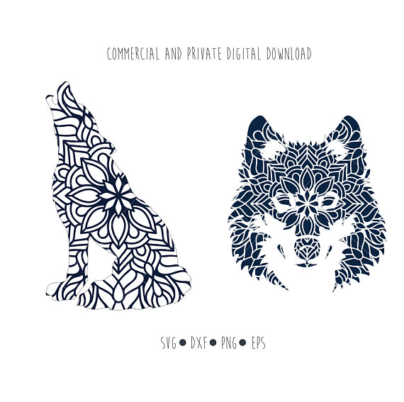 Boho clipart wolf. Mandala digital file ethnic