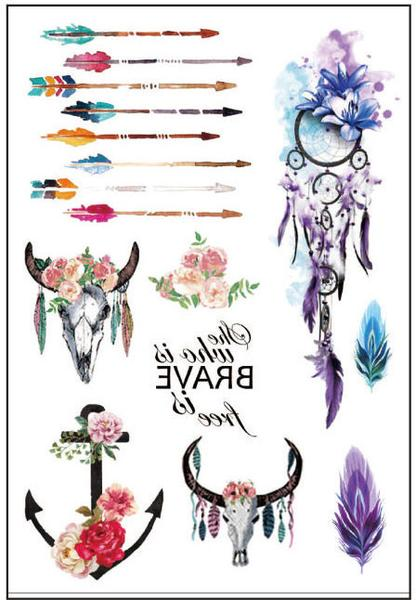 Floral temporary tattoo set. Boho clipart wolf