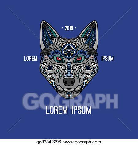 Eps illustration style logo. Boho clipart wolf