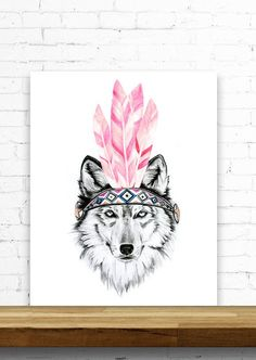 A x mustard watercolour. Boho clipart wolf