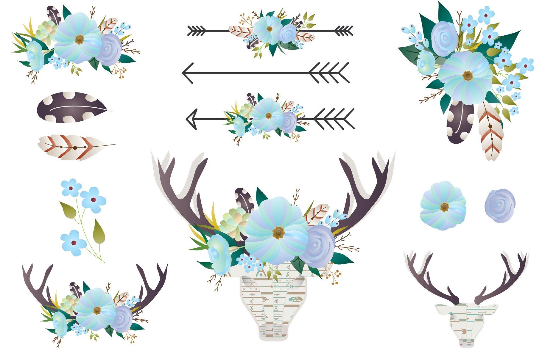 Floral clip art deer. Antlers clipart boho