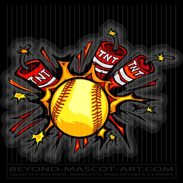 Softball dynamite cartoon vector. Bomb clipart baseball