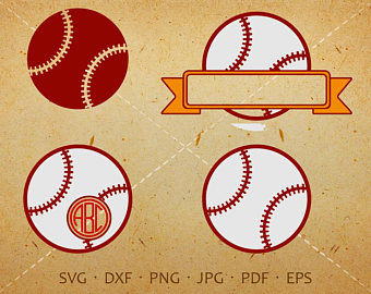 Svg monogram with circle. Bomb clipart baseball