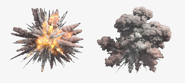 Missile explosion smoke flame. Bomb clipart bombing