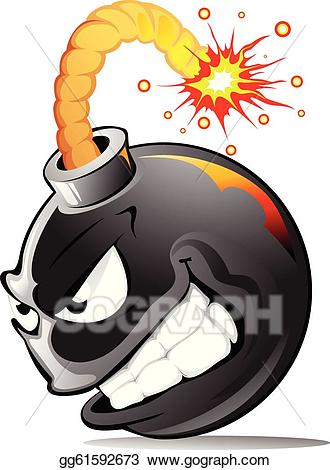 Bomb clipart cartoon. Eps vector evil stock