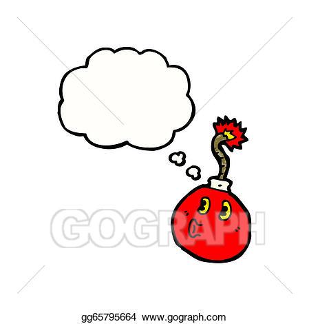 Vector art cartoon drawing. Bomb clipart cherry bomb