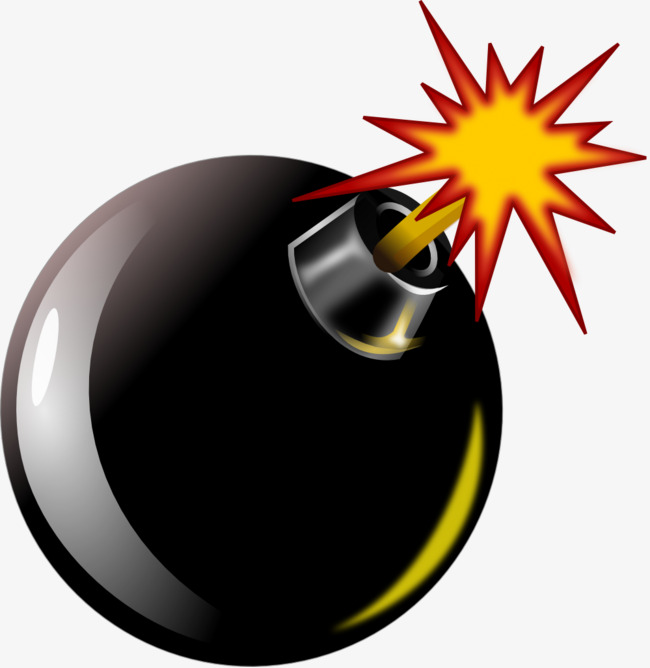 Cartoon bombs black spark. Bomb clipart comic