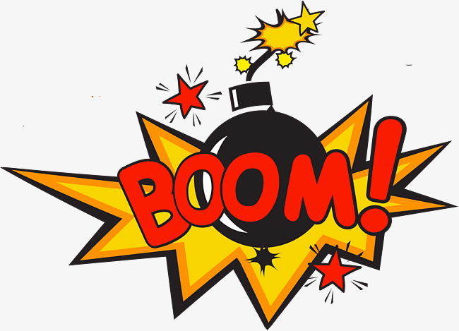 Style explosion text erase. Bomb clipart comic