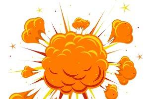 Explosions vector elements illustrations. Bomb clipart comic book
