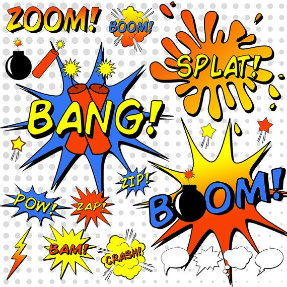 Superhero word bubbles sayings. Bomb clipart comic book