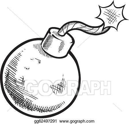 Bomb clipart drawing. Vector art retro sketch