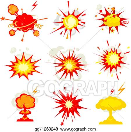 Eps illustration explosion blast. Bomb clipart fire