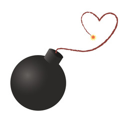 Bomb clipart heart. Icon ready to explode