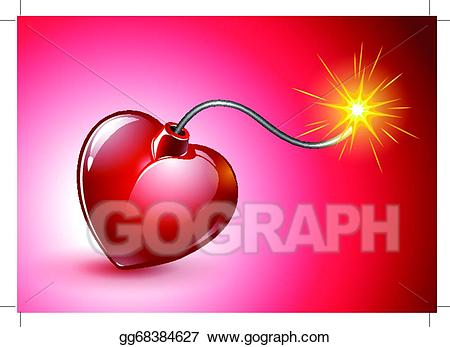 Vector art shaped love. Bomb clipart heart