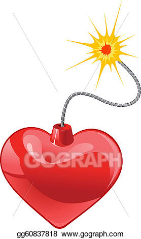 Eps vector stock illustration. Bomb clipart heart