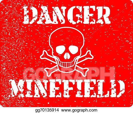Vector stock danger illustration. Bomb clipart minefield