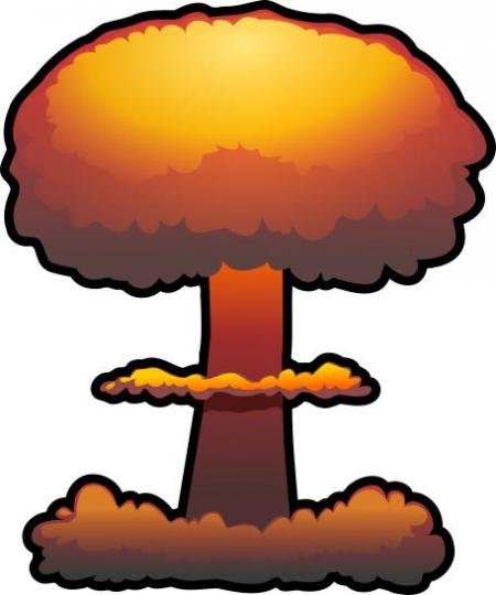 Bomb clipart nuclear missile. Silhouette design droide explosion