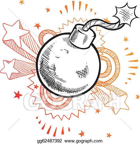 Vector art retro sketch. Bomb clipart old fashioned