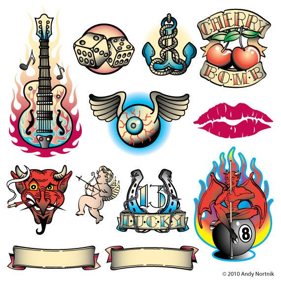 Tattoo designs in style. Bomb clipart old school