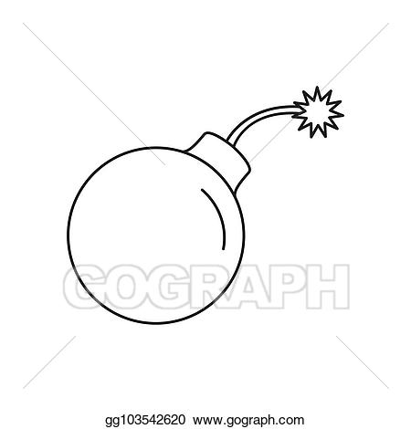 Bomb clipart outline. Eps vector icon style