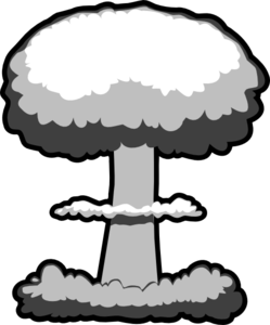 Nuclear explosion pencil and. Bomb clipart retro