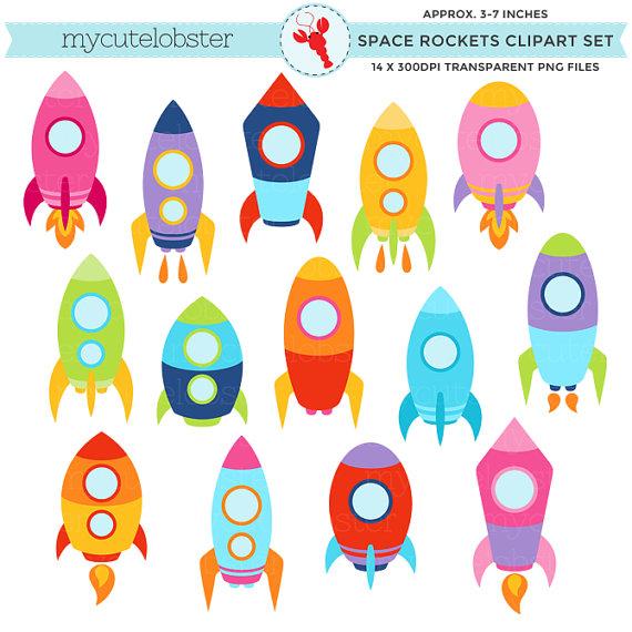 Bomb clipart rocket. Space rockets set clip